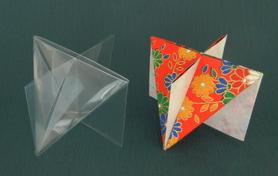 交差する白銀長方形と正四面体