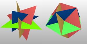 正三角形4つの交差と、正六角形4つの交差